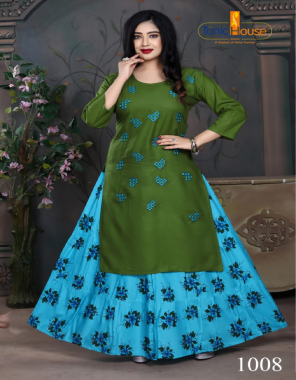 green top -rayon with embroidery |skirt -rayon with print fabric embroidery printed work festive