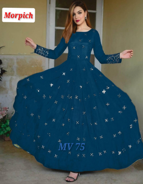 morpich heavy georgette with full inner length 52 fabric embroidery work wedding