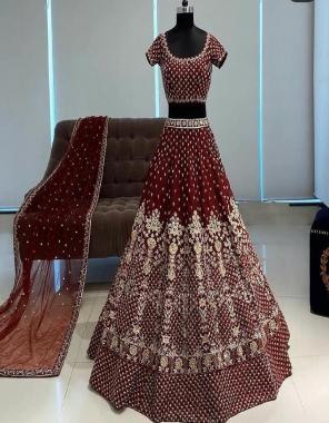 marron lehenga -phantom silk with embroidery work  inner -american silk with cancan  blouse -phantom silk with embroidery  dupatta -net 2.40m  waist -42+  length -42  flair 2.40m fabric embroidery work festive