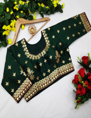 green fentam silk |front open with huk fabric embroidery cording gotta work ethnic
