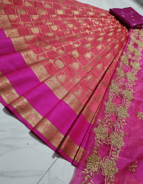 gajri lehenga -kanjivaram silk 3.20 |blouse -banglori silk 1m |dupatta -organza cutwork 2.20m fabric embroidery work running