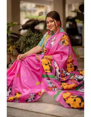 pink saree -heavy satin silk |blouse -heavy satin silk fabric digital printed work party wear