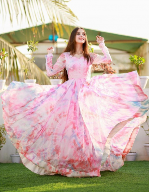 light white pink heavy georgette with silk inner length 52 fabric digital print work wedding