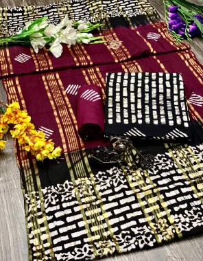 marron black top -soft cotton 2m  bottom -soft cotton 2m  dupatta -cotton batik 2.25m fabric batik print work ethnic
