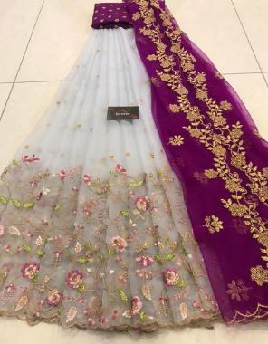 grey lehenga -organza 3m |blouse -banglori 1 | dupatta -organza 2.20m fabric embroidery cutwork work wedding