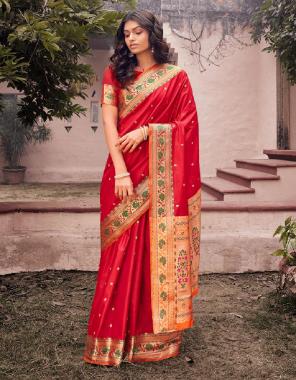 red soft kanjivaram silk fabric weaving jacqaurd work festive