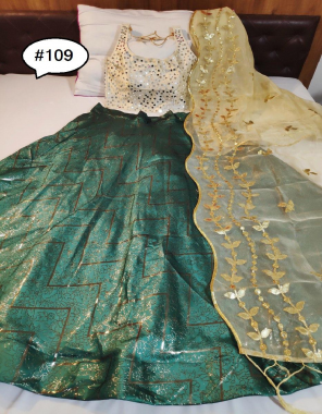 green lehenga -brocade with cancan inner semi stitch size upto 42 length -42 |blouse -pure phantom silk full stitch upto 42 |dupatta - pure tissue silk with gotta patti work  fabric weaving gotta patti  work casual