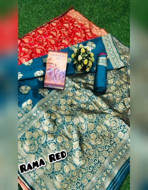 rama red soft banarasi silk fabric weaving jacqaurd work ethnic