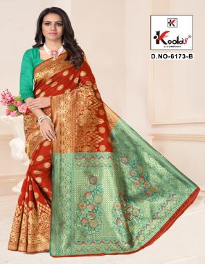 red silk base fabric rich pallu weaving jacqaurd  work casual