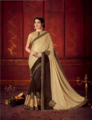 cream with coffee georgette with lycra fabric embroidery  work festival