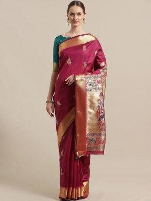 magenta silk fabric weaving work wedding