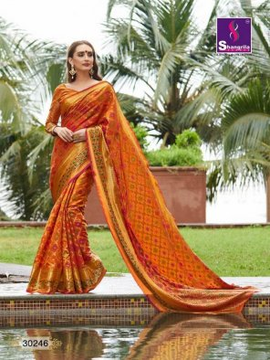 orange heavy silk fabric thred work work festive