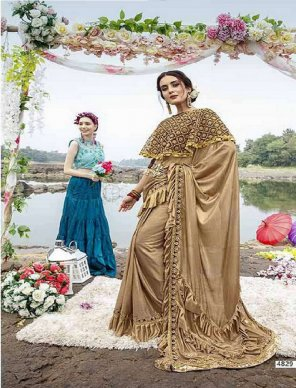 chikoo georgette fabric embroidery work wedding