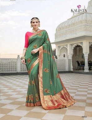 olive georgette fabric embroidery work wedding