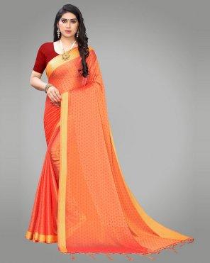 orange poly georgette fabric printed work casual
