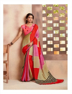 pink georgette fabric printed work casual