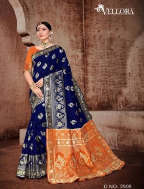 blue banarasi silk fabric weaving work festival