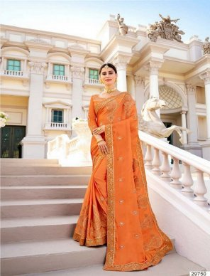 orange vichitra silk fabric heavy embroidery work wedding