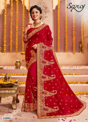red vichitra silk fabric embroidery work wedding
