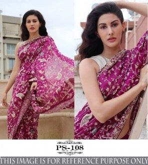 magenta banglori silk fabric printed work festival