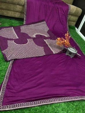 purple malai georgette silk fabric lace border sequence & dori work  work festival