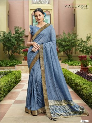 sky grey vichitra silk fabric foil print and black rapier border work festival