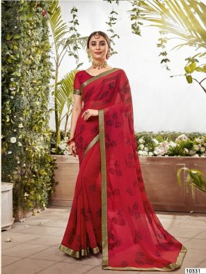 red georgette fabric printed and stone work festival