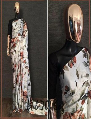 off white heavy sattain silk fabric digital print work party