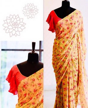 yellow georgette fabric digital print work casual