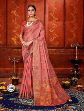 blush red art silk fabric weaving  work festival