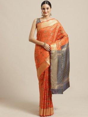 fire orange silk fabric weaving  work wedding