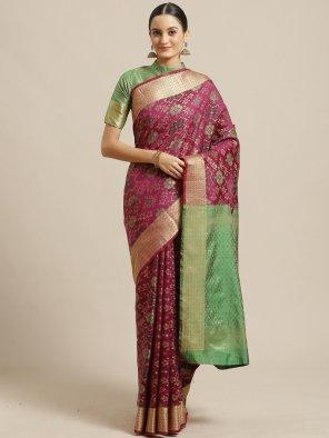 magenta silk fabric weaving  work festival