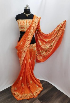 orange cotton silk fabric printed work casual