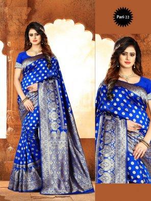 royal blue soft silk fabric weaving  work festival