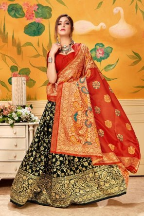 black pure silk fabric weaving  work wedding