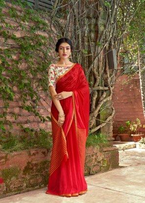 red maroon chiffon silk fabric plain  work party