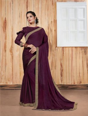 wine georgette fabric jari linen and border work party
