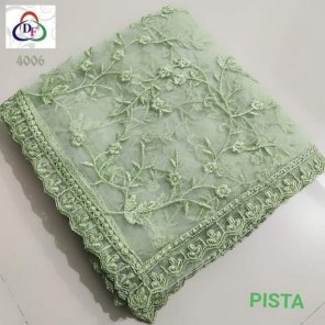 pista naylon net fabric thred embroidery work party