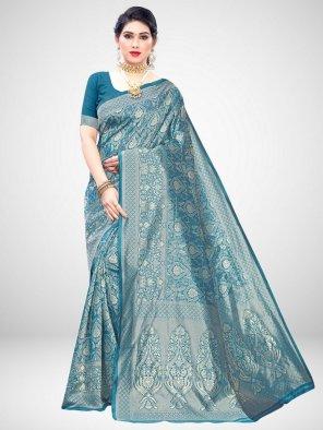 sky blue silk fabric weaving work wedding