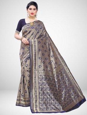 neavy blue silk fabric weaving work festival