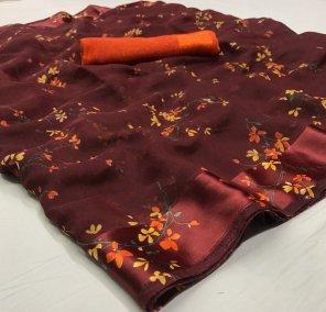 rose wood linen silk fabric printed work casual