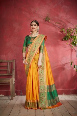 merigold yellow silk fabric weaving work festival