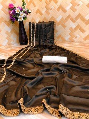 coffee satin silk fabric pearl work work party