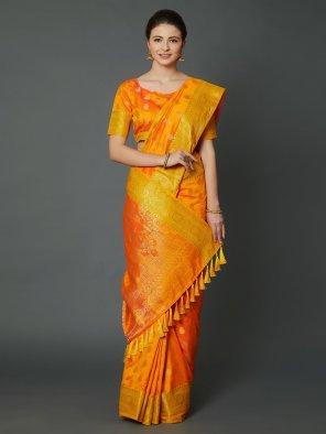 orange silk fabric weaving work wedding