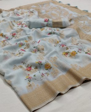 ice blue soft silk fabric printed work party