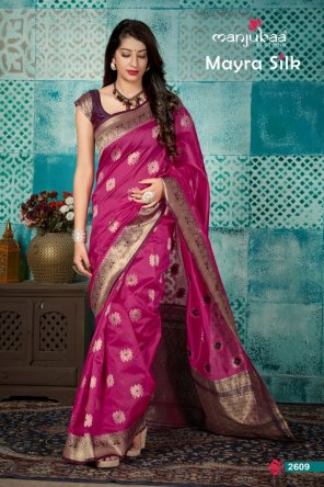 magenta banarsi soft silk fabric weaving work wedding