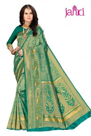batli green silk fabric weaving work festival