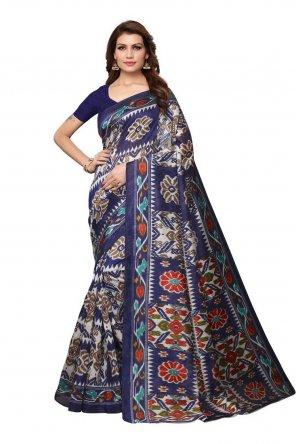 navy blue art silk fabric printed work casual