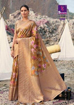 mustard yellow soft gicha silk fabric weaving kasab rich pallu work festival