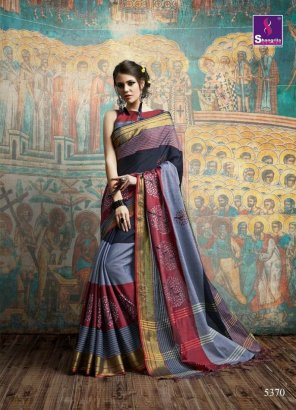 mix color silk fabric weaving with thread work wedding
